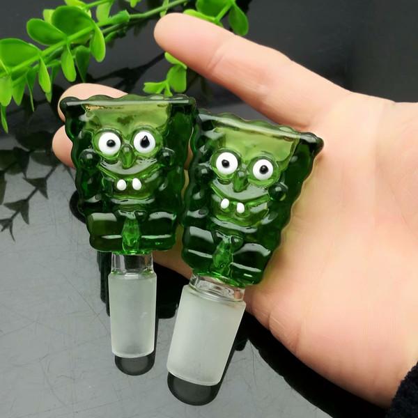 Зеленый мультфильм Baby Bubble Оптовая продажа стеклянных водопроводных труб Табачные аксессуары Стеклянный золоуловитель