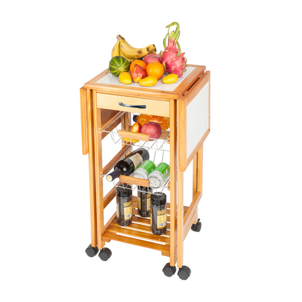 2019 4 Tier Rolling Wood Kitchen Trolley Cart Rack Shelf Stand 2 Baskets 1  Drawer Portable Folding Drop Leaf Dining Room Storage Cart From Lovetrendy,  ...