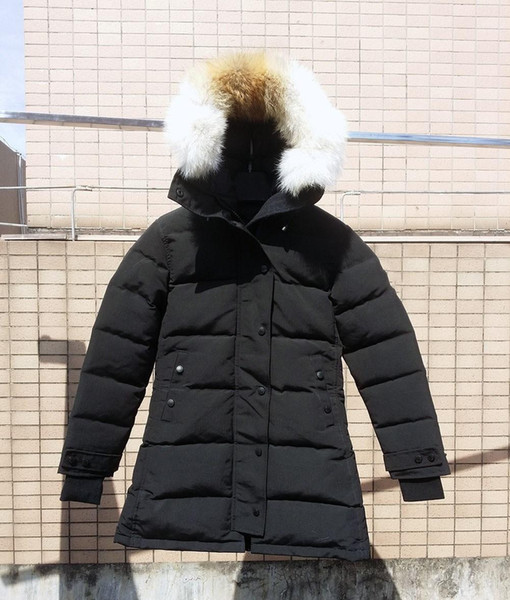 Real wolf fur Women's Down Jackets Shelburne PARKA FUSION FIT Duck Real Woif Fur Coat Winter Thick Warm Coats Parkas Hooded Coat Downs