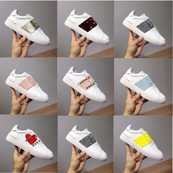 2019 new arrivel designer shoes white fashion mens women leather casual open low sports sneakers size 35-46