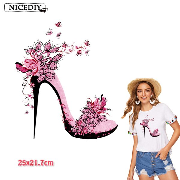High Heels Transfer Thermal Transfer Iron On Vinyl Printed Patches Cartoon Stickers Applique Decoration For Clothing