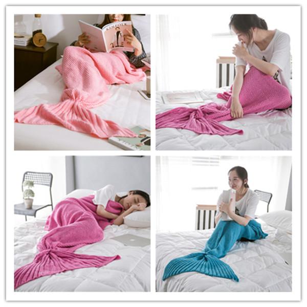 Hot sale 2019 Knitted Mermaid Tail Blanket Child/Adult/Baby/Girl/Girlfriend Mermaid Blanket Knit Cashmere-Like TV Sofa Blankets