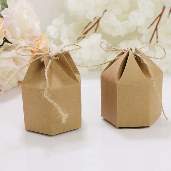 Hexagon DIY Kraftpapier Paket Hochzeit Süßigkeiten Tasche Klassische Süßigkeitskästen Glück Papier Geschenk Box Taschen Versorgung 50 Stücke DHL