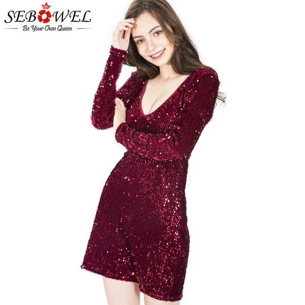 8785452e88159 Wholesale Sexy Sequin Club Dress Women Burgundy Glitter Bodycon Party Dress  V Neck Sparkly Pencil Dress Vestido De Festa Curto Ladies Dresses On Sale  ...