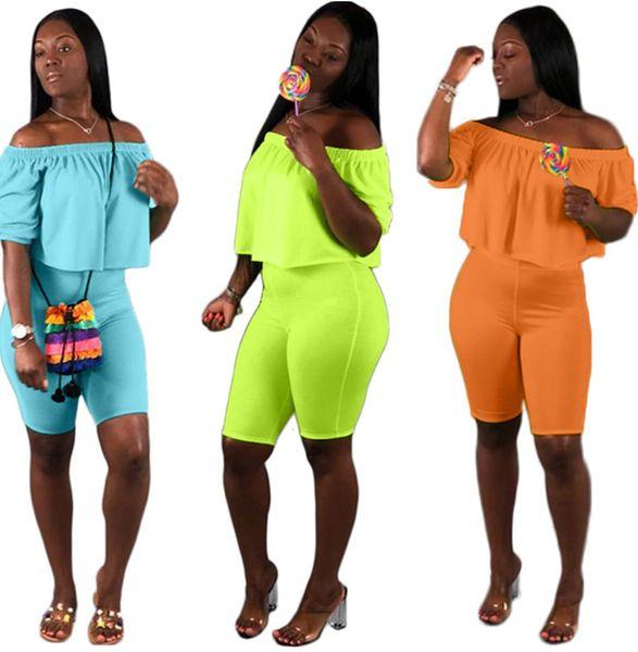 Trajes de manga corta de verano para mujer chándales trajes de dos piezas conjunto casual ropa de mujer para correr delgado suéter + pantalones cortos klw1149