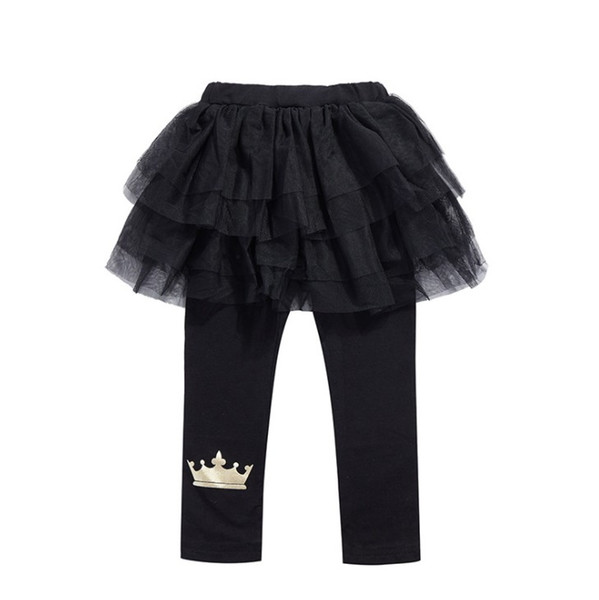 502519ca33e baby girls tutus leggings pants black color kids tights pant with crown  children trousers 2019 new