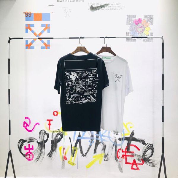 Diseño de marca lujoso 19ss OFF Carta impresa camiseta clásica Hombres Mujeres Moda transpirable Streetwear camiseta al aire libre
