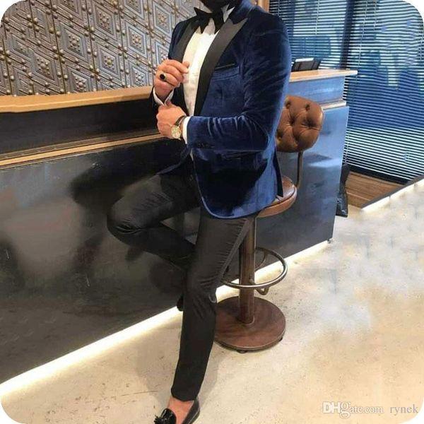 Latest Designs Blue Velvet Groom Tuxedos Men Suits for Wedding Black Peaked Lapel Smoking Jacket Wool Blend Pants 2Piece Best Man Blazer