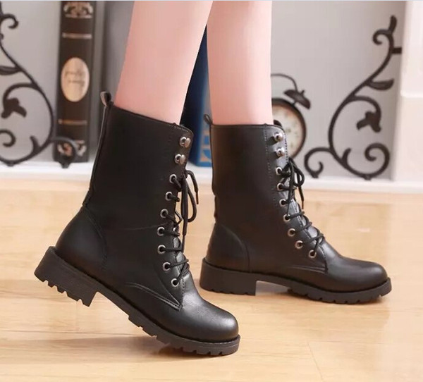 Winter new Martin boots female thick with belt buckle British fan boots lovers boots military large size foreign trade shoes
