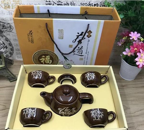 Chinese tea set Medium temperature ceramic kungfu tea set 1 pot 6 cups opening gift