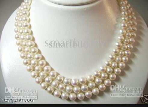 """top popular Fine Pearl Jewelry 100% natural 3-STRAND 8-9MM japanese akoya White Pearls Necklace 17""""18""""19"""" flower shell clasp 2021"""