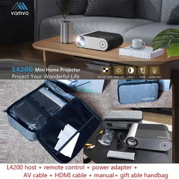 best selling VAMVO L4200 Portable Video Projector Mini Projector Full HD 1080P 200 Display Supported 3800 Lux with 50000 Hrs Outdoor Movie Projector