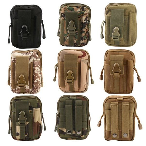 Outdoor Tactical Holster Molle Hip Waist Belt Bag Wallet Pouch Purse Phone Case with Zipper for iPhone7 drop shipping