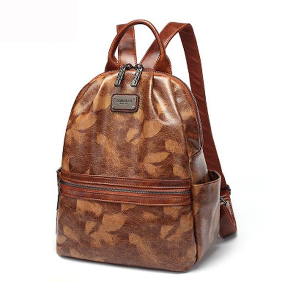 top popular 2020 New style Fashion Women Backpack Brand High quality Leather Backpack Teenage Girls School Bag Waterproof Backpack Mochilas 2020