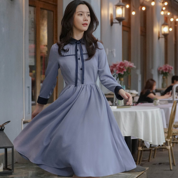 2019 New Autumn Women dress Patchwork Brace Nine Points Sleeve Dresses Blue 6768