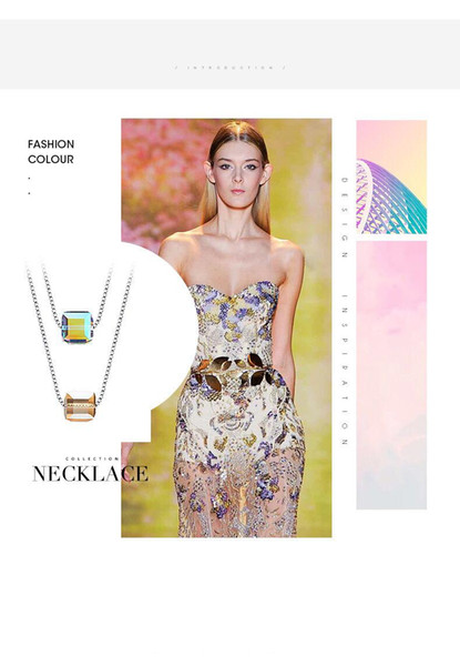 Collar romántico de Cube Sugar con Swarovski Elements S925 Collar de plata con caja original para regalo de Girlfreind