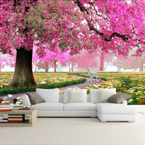 Moderne kundenspezifische Fototapete warme und romantische Blumen-Bäume und Rotwild-Wohnzimmer-Wand-Papier-Sofa-Hintergrund-Wandgemälde-Wandverkleidungen