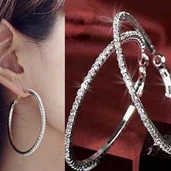 Hot Style Simple et douce, grande bague de 4,5 cm avec boucles d'oreilles en diamant pour les femmes, à la mode, classique et élégante