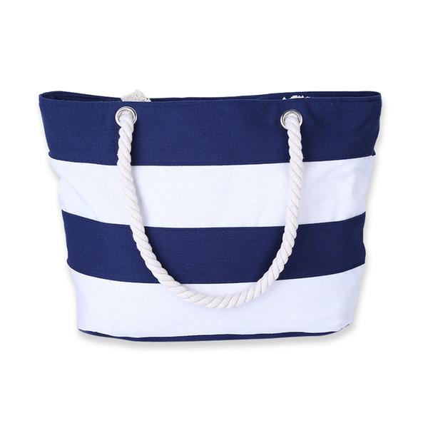 Women Beach Canvas Bag Fashion Stripes Printing Handbags Ladies Large Shoulder Bag Totes Casual Shopping Bags