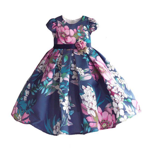 Ragazze Floral Dress Blue Hi-lo Party Wedding Summer Princess Wedding Bambini Abiti per vestiti Girl Dancing Pageant Size 3-8t Y19061701