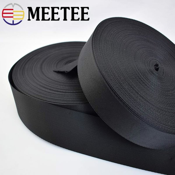 30yards Meetee 2/2.5/3.2/3.8/5cm Black Webbing Ribbon Band Bags Parts Straps Seat Belt Shoes Clothing Sewing accessories AP063