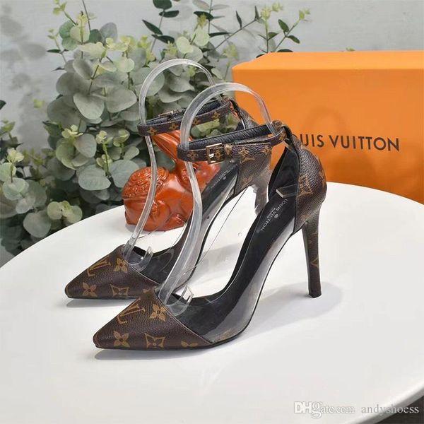 Moda clássicos impressos Meninas Vestido Mulheres Bombas Salto Alto 10cm Heeled Sexy Pointed Toe sapatos de cristal festa da alta qualidade mulheres sapato