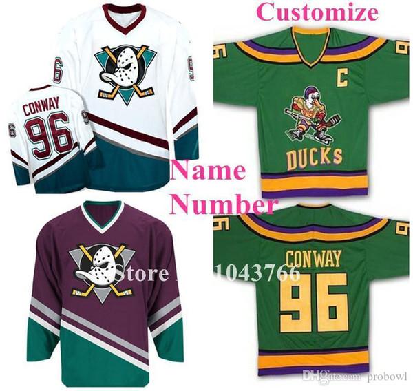 사용자 지정 이름 모든 번호 녹색 흰색 자주색 여성용 여성 청소년 96 Charlie Conway Jerseys Mighty Ducks 영화 유니폼 게임 착용 1993-94 Away