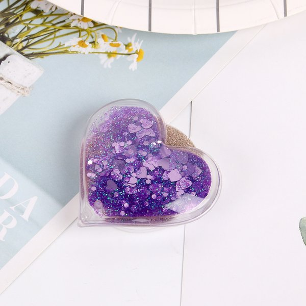 360 Degree Universal Holder Liquid Glitter Quicksand love heart Cell Phone Holder Real 3M glue Expandable Grip Stand Flexible