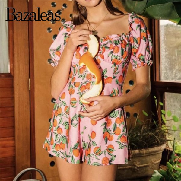 eda8aa7bea8f Bazaleas Puff Sleeve Women bodysuit Orange Fruit Print Pink Playsuits  Fashion Vintage jumpsuits for women rompers drop shipping