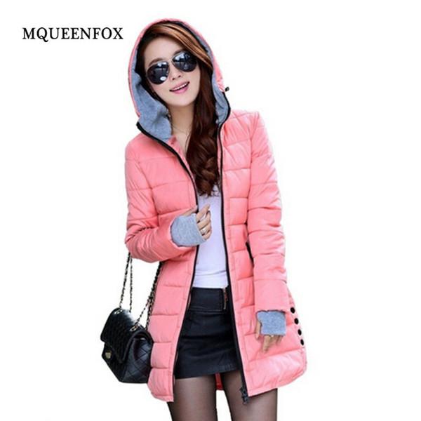 Зима пуховик женщина 2018 теплый хлопок мягкий с капюшоном пальто зимняя куртка женщин конфеты цвет пиджаки женский плюс размер