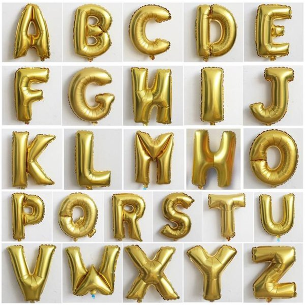 32 inch Decorative Aluminum Balloon Gold/Sliver Color Foil Balloons A-Z Letter for Wedding / Christmas / Birthday Party.