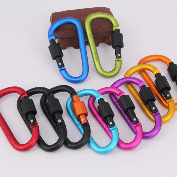 best selling Aluminum Carabiners Camping Outdoor Aluminum Alloy D Screw Lock Carabiner Clip Hook Camping Keychain Screwgate Screw Locking Thickened diame