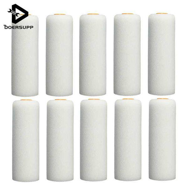 10 PCS/set 100mm Mini White Durable Foam Paint Roller Sleeves Painting Decorating Sponge Rollers Art Sets Painting Supplies