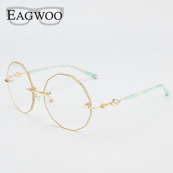 Flower Waved Trim Korrektionsbrillen Randlose Lesung Myopia Progressive Photochromic Glasses Spectacle 28585