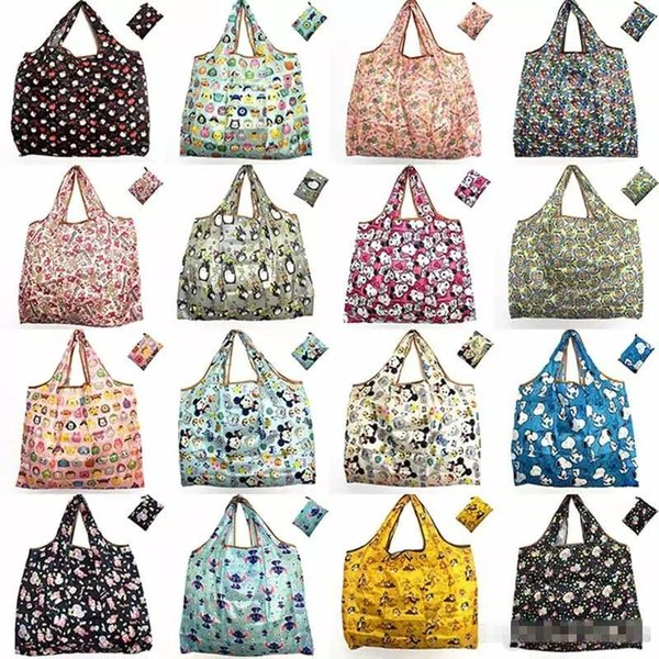 Foldable Shopping Bags Reusable Storage Bag Eco Friendly Waterproof Nylon Handbags Tote Bags Travel Large Capacity Grocery Bags