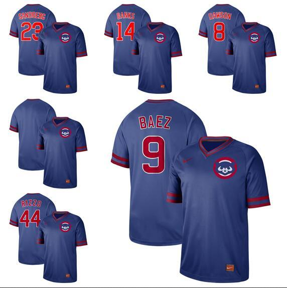 2019 Hot Style Men Women Youth Cubs 23 Sanoderc 14 Banks 8 Dawson 9 Baez 44 Rizzo Retro Cooperstown Batting Practice Baseball Jersey