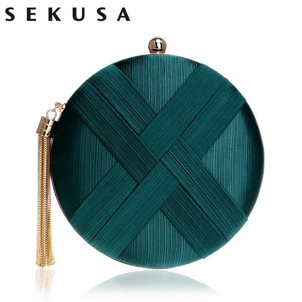Sekusa Fashion Women Bag Tassel Metal Small Day Clutch Purse Handbags Chain Shoulder Lady Evening Bags Phone Key Pocket Bags Q190429