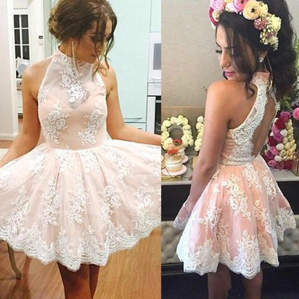 Charming Pink Hollow Back Short Homecoming Dresses Arabic High Neck Applique Bridesmaid Short Prom Dress Cocktail Party Club Wear Graduation