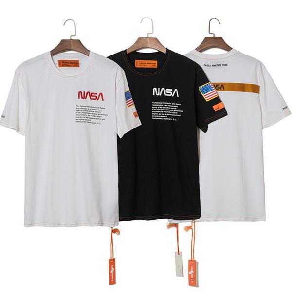 Héron Preston T-shirts NASA T-shirt à manches courtes en coton brodé noir et blanc pour hommes T-shirt en coton de meilleure qualité
