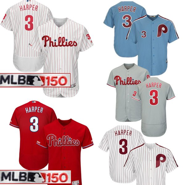 low priced ad3c2 c629d 150th 3 Bryce Harper Philadelphia Phillies Jersey Mens Majestic Road Cool  Base Authentic Collection Player Embroidery