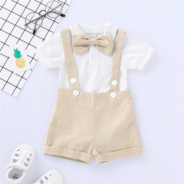 Boys Sling Siamese Sets Kids Designer Clothes Suspender Shorts Baby Bow Tie Solid Color Short Sleeve Tops Short Pants Sets