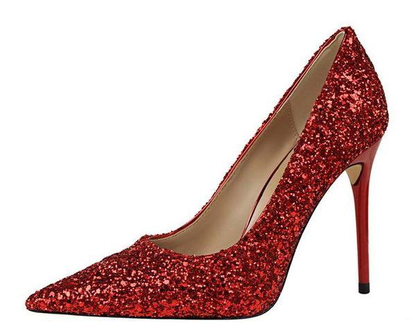2020 Moda lüks tasarımcı kadın Saucony Kilitleme Topuklar En yüksek Topuklar Boyut 12 9.5cm Deri Sivri Ayak parmakları dipleri Elbise ayakkabı pompaları