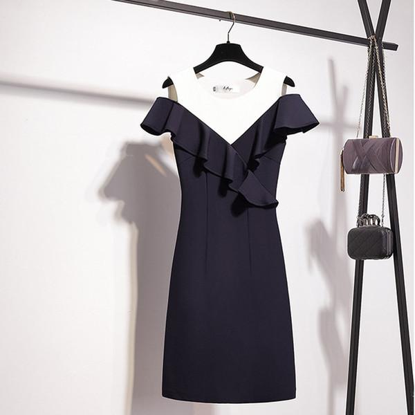 Abiti Da Cerimonia Da Sera.2020 Ruffle Elegant Cocktail Gown Sexy Black Abiti Da Cerimonia Da
