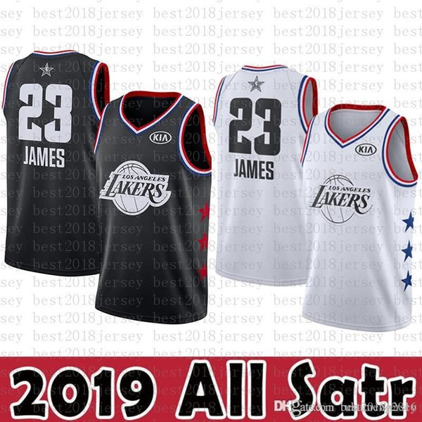 finest selection 84f2f 02d15 2019 2019 All Star New Los Angeles Jersey Lakers 23 LeBron James Basketball  Jerseys Black White KIA Logos From Best2018jersey, $42.18 | DHgate.Com