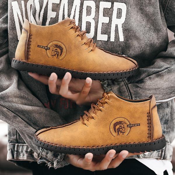 Winter Warmhalten Männer Stiefel Hochwertigem Spaltleder Casual Männer Schuhe Mit Plüsch Fahsion Pelzstiefel Männer Schuhe Für Männer Schuhe