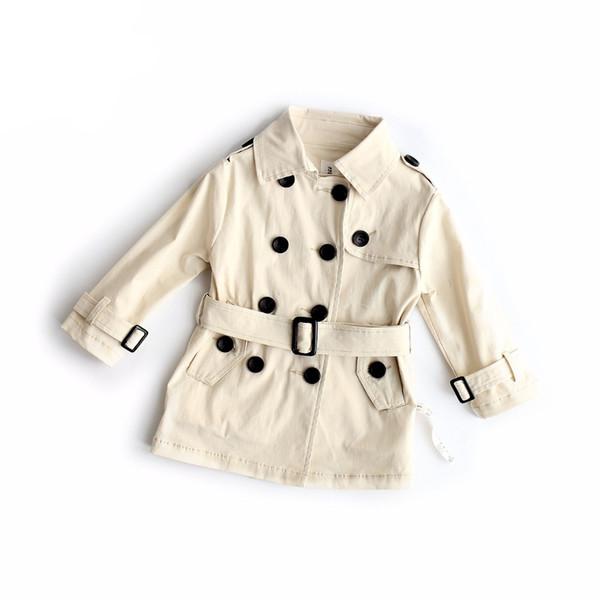 Coton Trench Coton Imprimé Enfants Trench Long Causal Beige Veste Enfant Toddler Streetwear Dust Coat