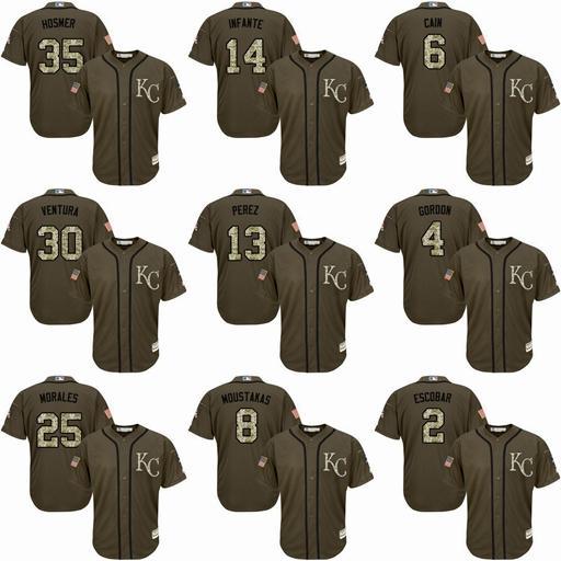 Kansas City erkek Royals Forması Alex Gordon Eric Hosmer Salvador Perez Jarrod # 16 Bo Jackson 6 Lorenzo Cain Beyzbol Formalar Dikişli