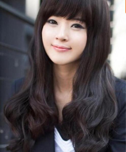WIG Free Shipping Wig girls kinkiness medium-long oblique bangs short hair oblique bangs elegant face-lift wig