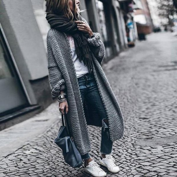 Womens Winter Coats Wool Cardigan Solid Bat Jacket Sweater Long Loose Thick Coat