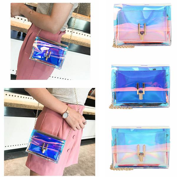 3 estilos láser transparente a través de la solapa del bolso del hombro del mensajero bolsa de playa dama bolsos crossbody almacenamiento al aire libre bolso del teléfono crossbody FFA2137